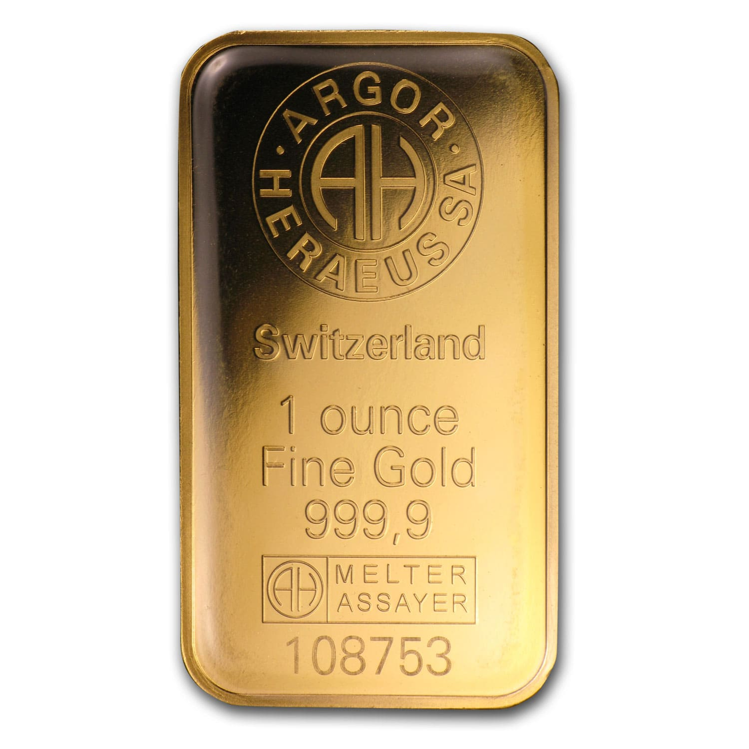 1 oz Gold Bars - Argor-Heraeus (KineBar Design, in Assay)